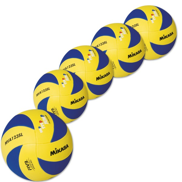 5er Ballpaket MIKASA Kinder Volleyball MVA 123SL, 200-220g