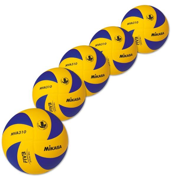 5er Ballpaket MIKASA Hallenvolleyball MVA 310