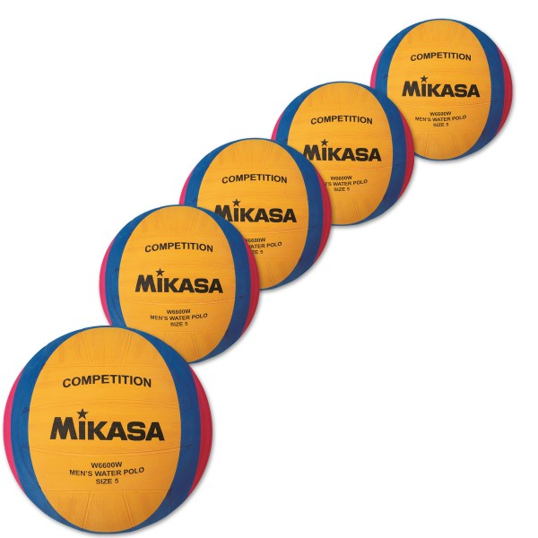 5er Ballpaket  MIKASA Wasserball W6600W Competition Men