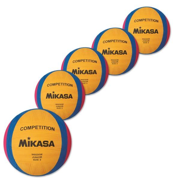 5er Ballpaket MIKASA Wasserball W6608W Competition Junior
